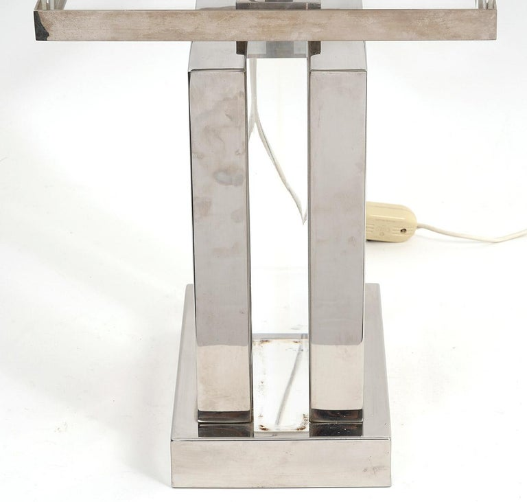 Vintage Mid-Century Modern Italian Chrome and Lucite Table Lamp by Romeo Rega For Sale 3