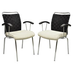 Vintage Mid Century Modern Italian Woven Back Chrome Frame Arm Chairs, Pair