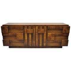Vintage Mid-Century Modern Lane Brutalist Block Front Credenza Dresser
