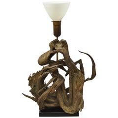 Vintage Mid-Century Modern Large Driftwood Freeform Table Lamp