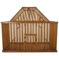 Vintage Mid-Century Modern Large Pine Wood Birdcage