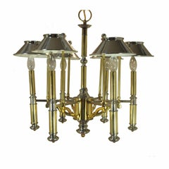 Vintage Mid-Century Modern Lightolier Chrome and Brass Art Deco Style Chandelier