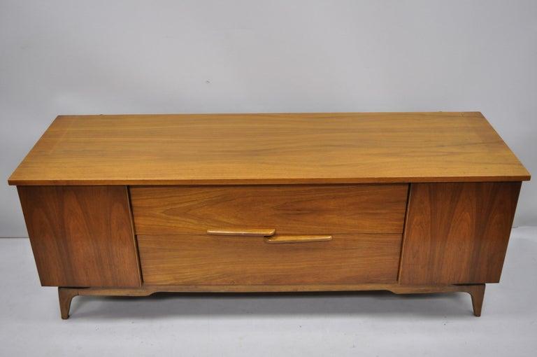 Vintage Mid-Century Modern Low Sleek Walnut Credenza ...