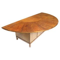 Vintage Mid-Century Modern Mahogany Demilune Executive Desk & Console Jens Risom