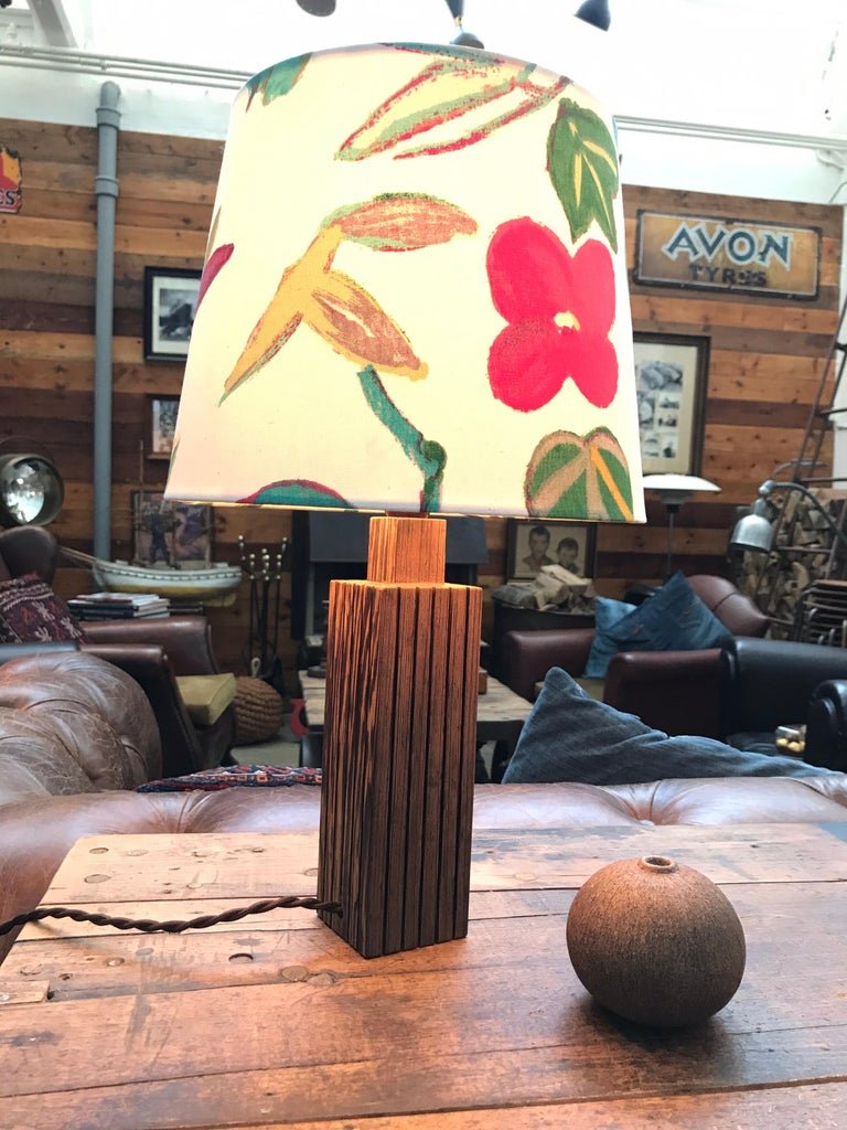 Vintage Mid-Century Modern Mahogany Table Lamp with an ArtbyMay Lamp Shade For Sale 5