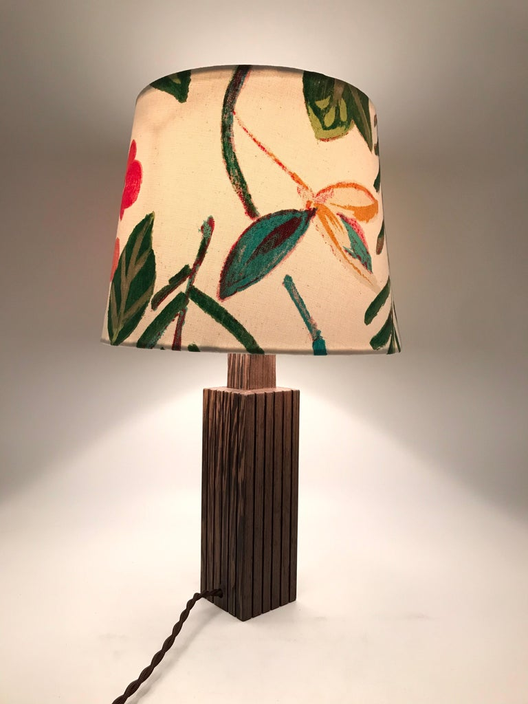 Vintage Danish Mid-Century Modern mahogany table lamp with a limited edition lamp shade from ArtbyMay in the manner of Josef Frank.  A beautiful floral print on a white cotton background looks amazing together with the mahogany lamp. The lamp