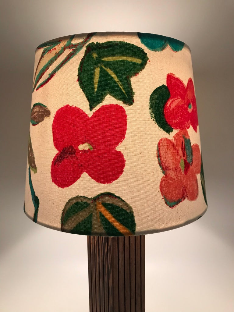 Hand-Crafted Vintage Mid-Century Modern Mahogany Table Lamp with an ArtbyMay Lamp Shade For Sale