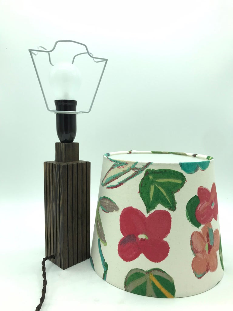 Mid-20th Century Vintage Mid-Century Modern Mahogany Table Lamp with an ArtbyMay Lamp Shade For Sale