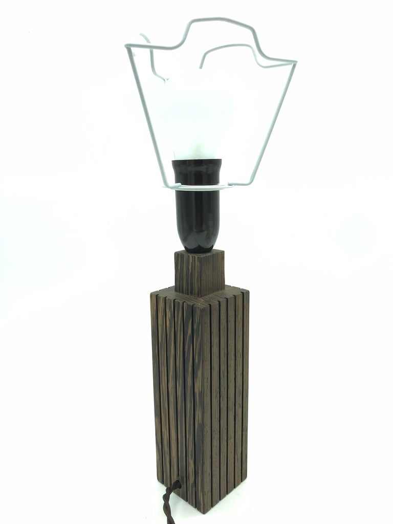 Vintage Mid-Century Modern Mahogany Table Lamp with an ArtbyMay Lamp Shade For Sale 1