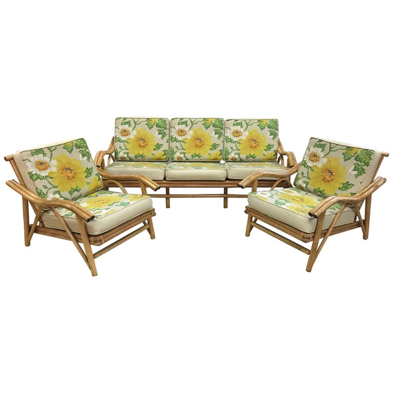 Vintage Mid-Century Modern Matching Bamboo Sofa And Two