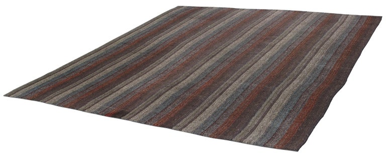 Hand-Woven Vintage Mid-Century Modern Minimalist Flat-Weave Rug For Sale
