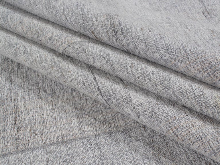 Hand-Woven Vintage Mid-Century Modern Minimalist Flat-Weave Rug For Sale