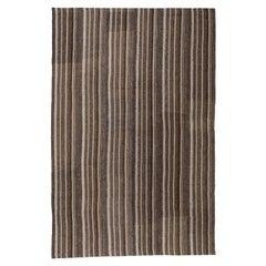 Vintage Mid-Century Modern Minimalist Persian Flatweave Stripe Rug