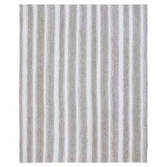 Vintage Mid-Century Modern Minimalist Striped Flatweave Rug