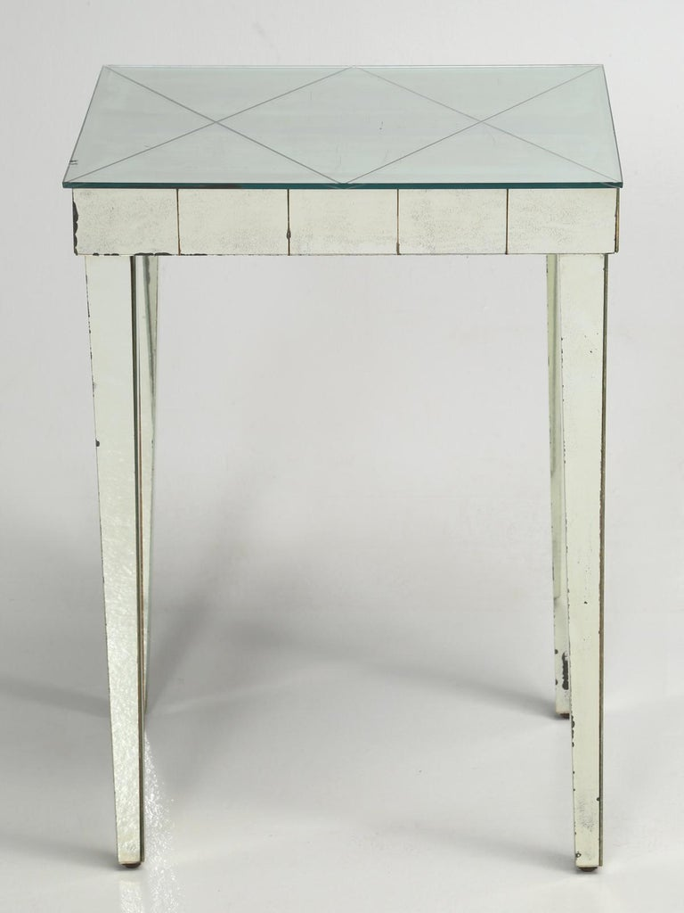 Mid-Century Modern vintage mirror end table, side table. The mirrored end table top, has a very unusual diamond pattern and shows a nice natural aged patina, that has not been contrived by some manufacturer.