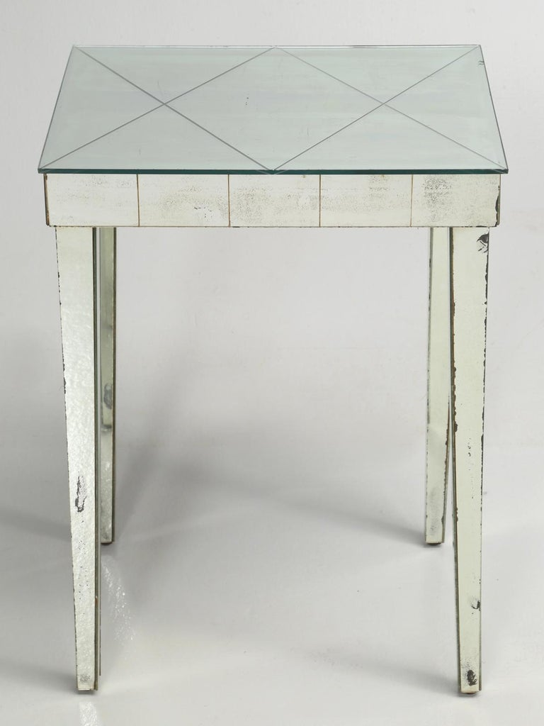 Hand-Crafted Vintage Mid-Century Modern Mirror End Table or Side Table For Sale