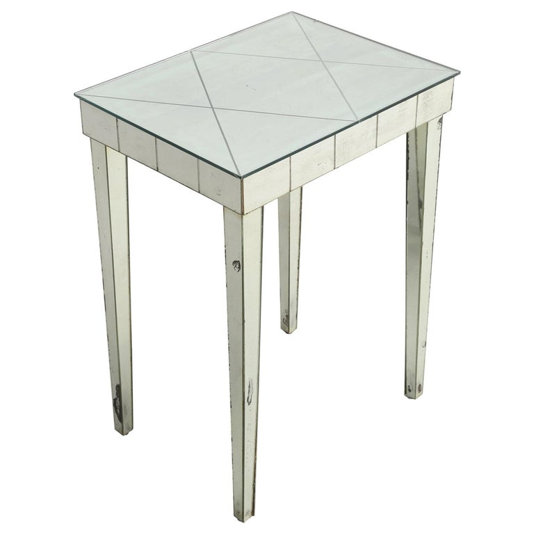 Vintage Mid-Century Modern Mirror End Table or Side Table For Sale