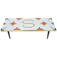 """Vintage Mid-Century Modern Mosaic Tile Top Coffee Table with """"S"""" Monogram"""