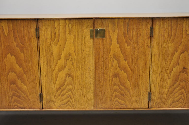 American Vintage Mid-Century Modern Oak Credenza Cabinet Long Buffet after James Mont For Sale