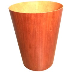 Vintage Mid-Century Modern Office Waste Paper Basket/Bin in Teak