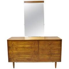 Vintage Mid-Century Modern Oskar Huber Walnut Credenza Long Dresser and Mirror