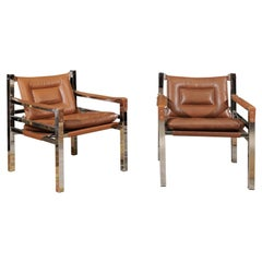 Vintage Mid-Century Modern Pair of Chrome and Leather Chairs
