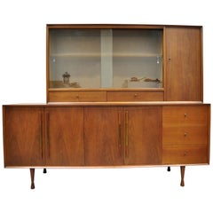 Vintage Mid-Century Modern Paul McCobb Style Walnut Credenza Hutch China Cabinet