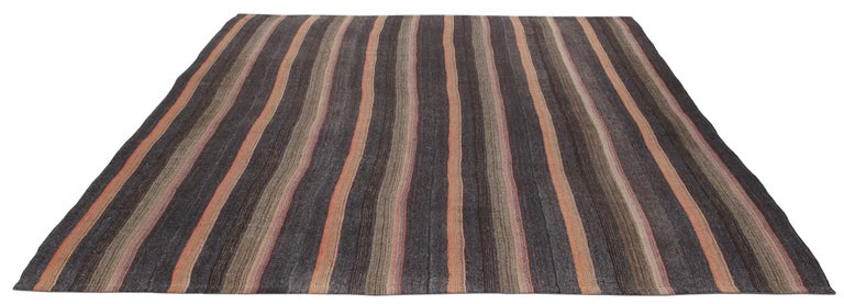 Hand-Woven Vintage Mid-Century Modern Persian Flat-Weave Rug For Sale