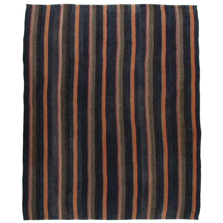 Vintage Mid-Century Modern Persian Flat-Weave Rug For Sale