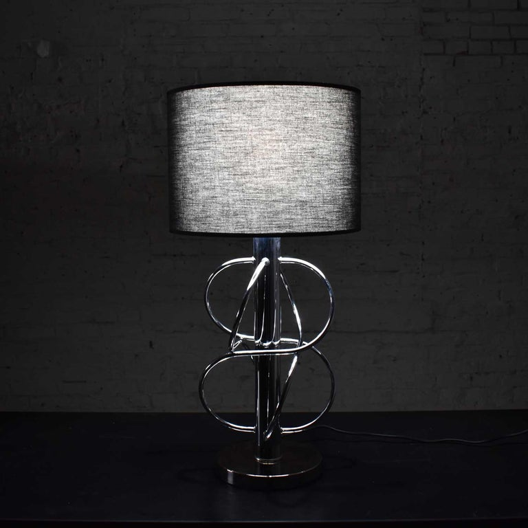 Vintage Mid-Century Modern Polished Chrome Table Lamp New Black Drum Shade For Sale 5