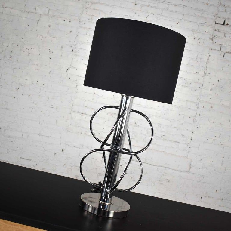Vintage Mid-Century Modern Polished Chrome Table Lamp New Black Drum Shade For Sale 6
