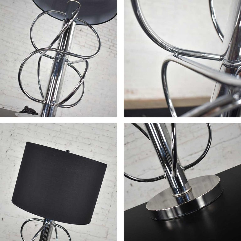 Vintage Mid-Century Modern Polished Chrome Table Lamp New Black Drum Shade For Sale 7