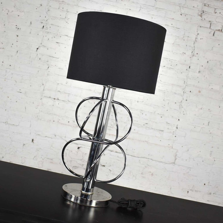 Vintage Mid-Century Modern Polished Chrome Table Lamp New Black Drum Shade For Sale 9