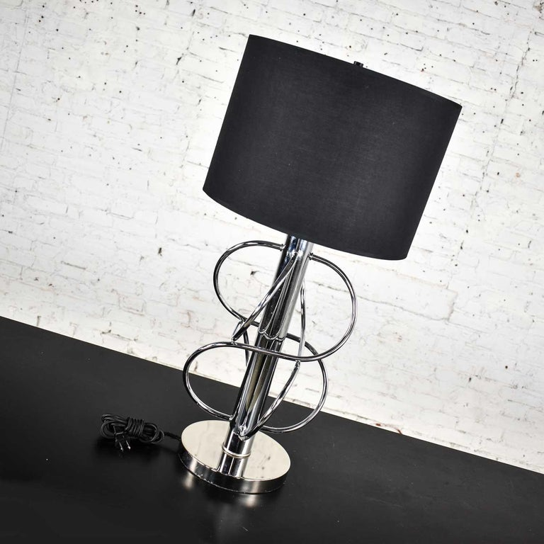 Unknown Vintage Mid-Century Modern Polished Chrome Table Lamp New Black Drum Shade For Sale