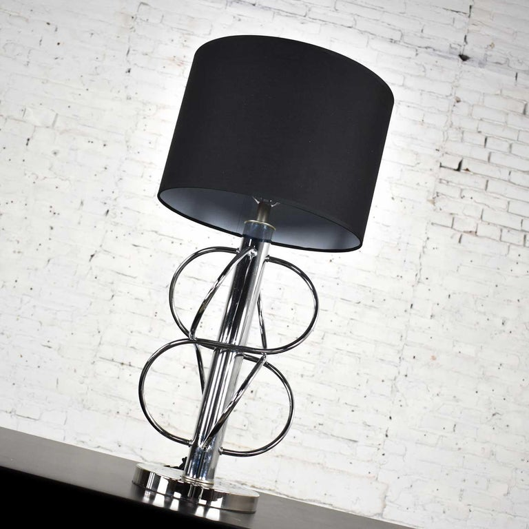 Vintage Mid-Century Modern Polished Chrome Table Lamp New Black Drum Shade For Sale 1