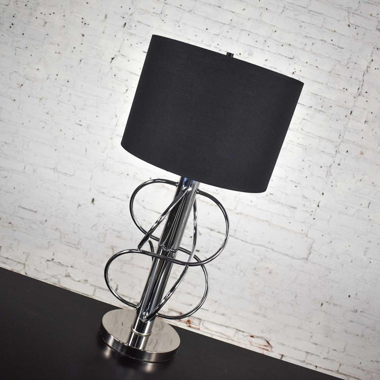 Vintage Mid-Century Modern Polished Chrome Table Lamp New Black Drum Shade For Sale 3