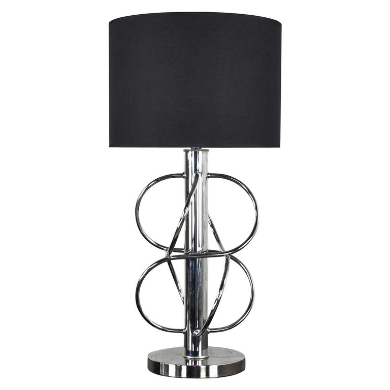 Vintage Mid-Century Modern Polished Chrome Table Lamp New Black Drum Shade For Sale