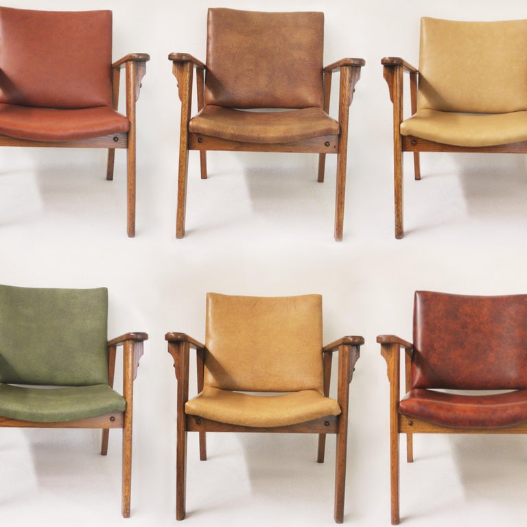 These Ranch oak side chairs were custom ordered by the Yellowstone National Park Services from the Brandt Furniture Co. back in the 1950s. We procured these particular chairs out of the Mammoth Hot Springs Hotel and Cabins where they have been in