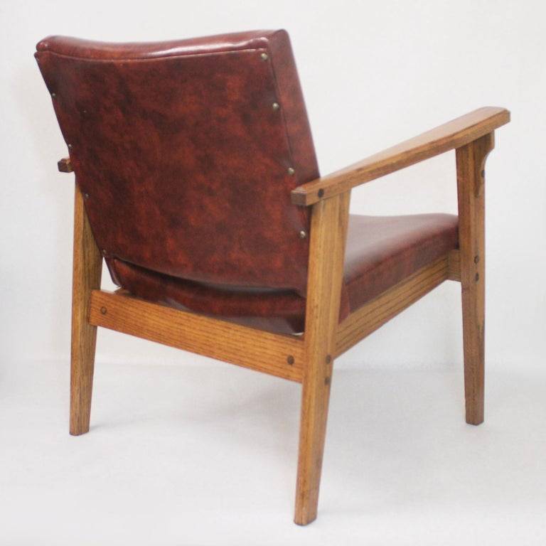 Vintage Mid-Century Modern Ranch Oak Side Chairs from Yellowstone National Park For Sale 2