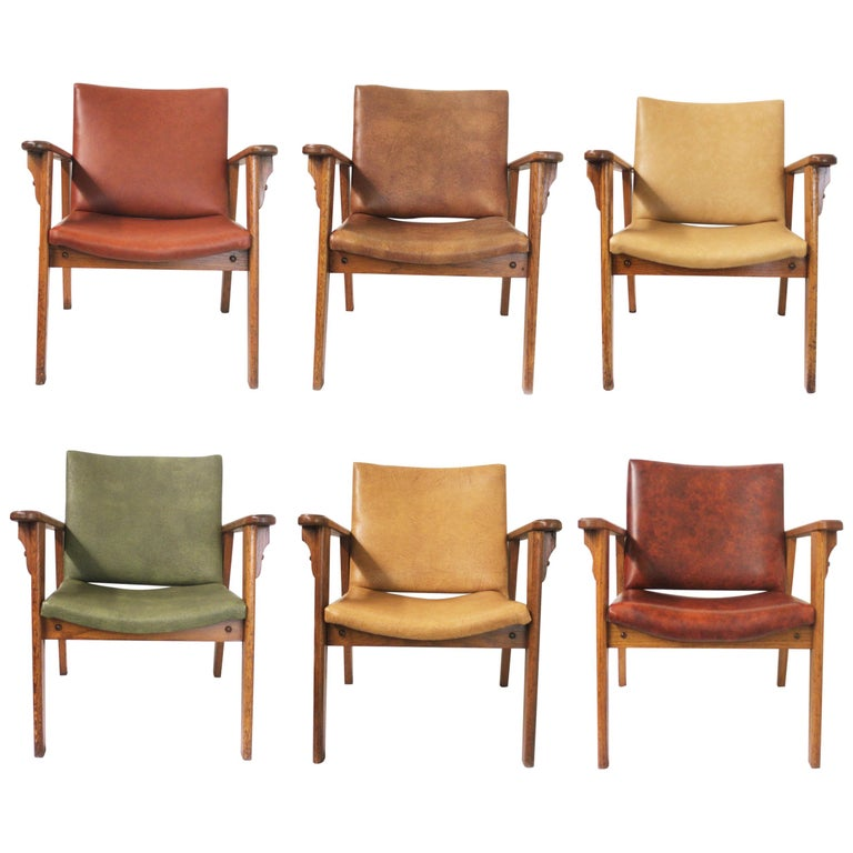 Vintage Mid-Century Modern Ranch Oak Side Chairs from Yellowstone National Park For Sale