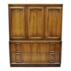 Vintage Mid-Century Modern Sculpted Walnut Tall Chest Dresser Armoire Cabinet