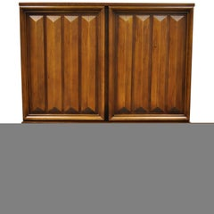 Vintage Mid-Century Modern Sculpted Walnut V-Leg Tall Chest Dresser Cabinet