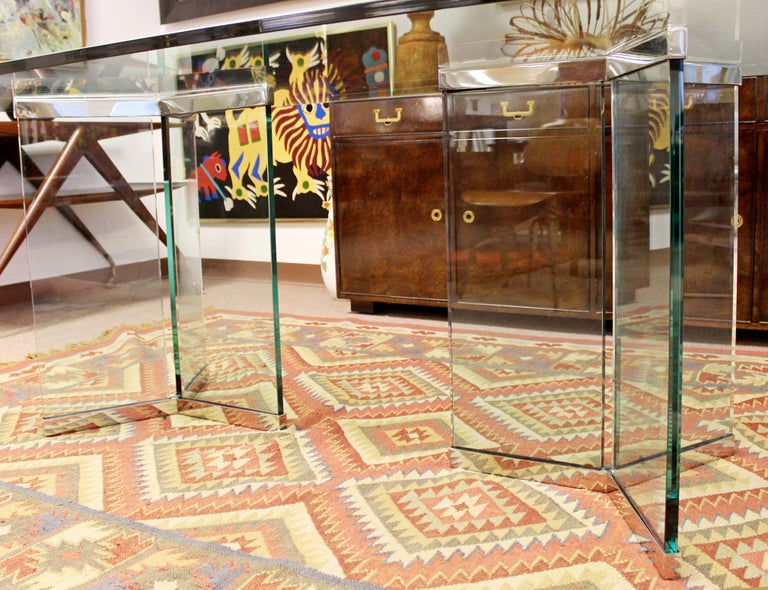 Vintage Mid-Century Modern Sculptural Rectangular Glass Chrome Dining Table Pace For Sale 4