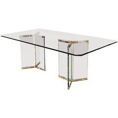 Vintage Mid-Century Modern Sculptural Rectangular Glass Chrome Dining Table Pace