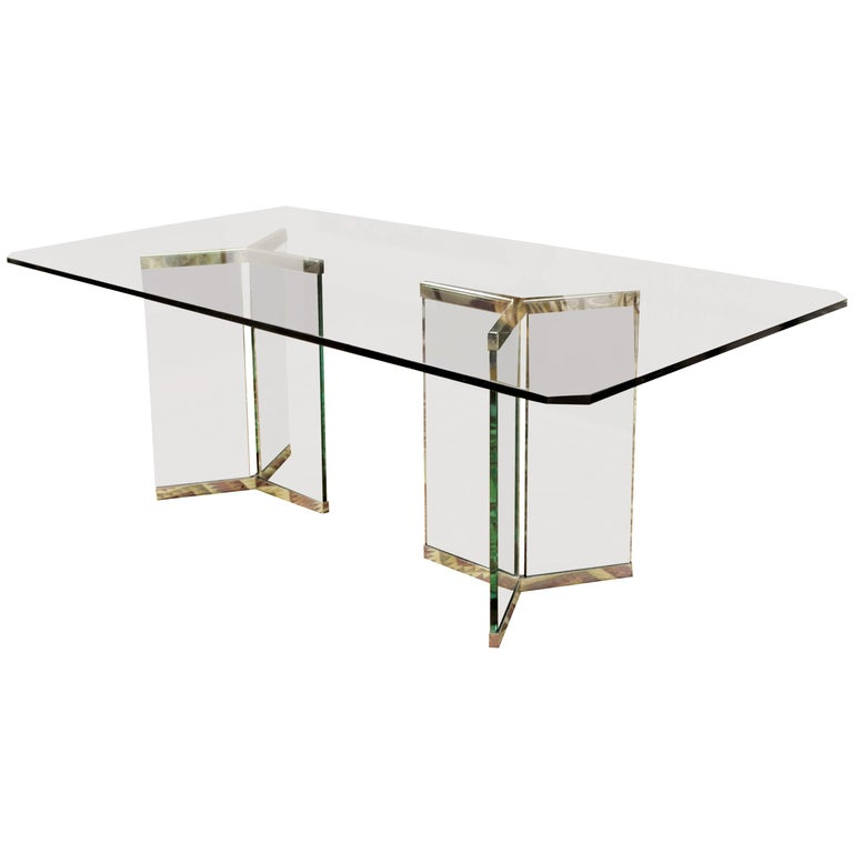 Vintage Mid-Century Modern Sculptural Rectangular Glass Chrome Dining Table Pace For Sale
