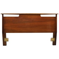 Vintage Mid-Century Modern Sculptural Sculpted Walnut Full Size Bed Headboard