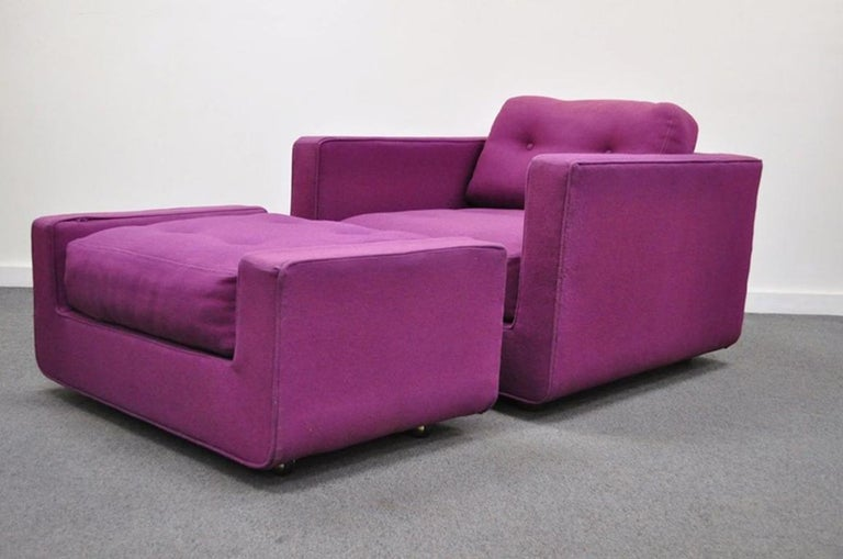 Vintage Mid-Century Modern Selig Cube Lounge Armchair and Ottoman Baughman Style For Sale 6
