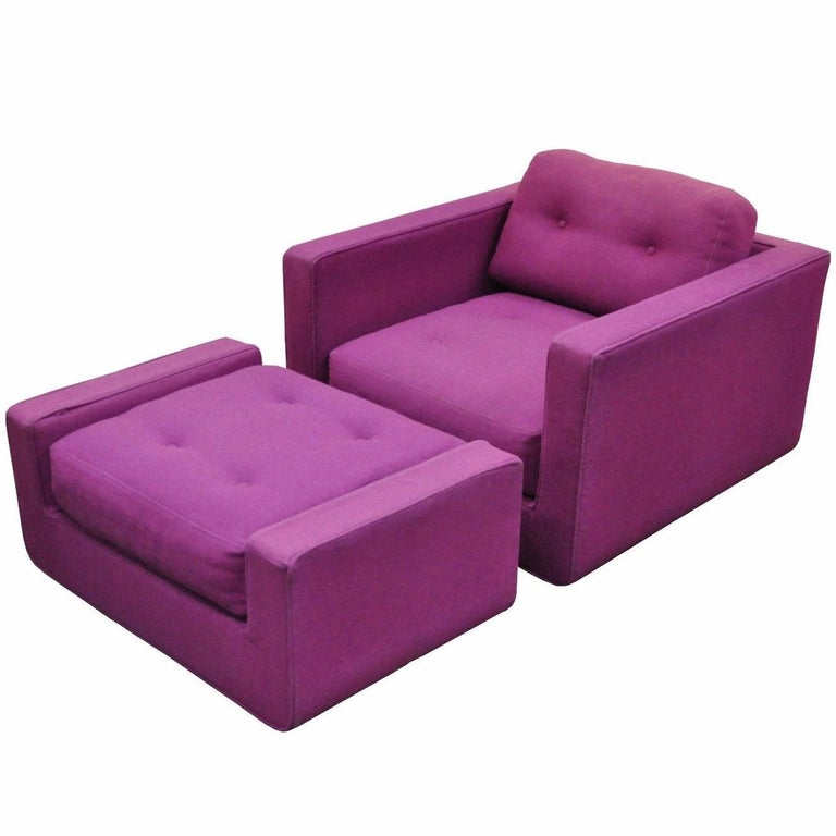 Vintage Mid-Century Modern Selig Cube Lounge Armchair and Ottoman Baughman Style For Sale