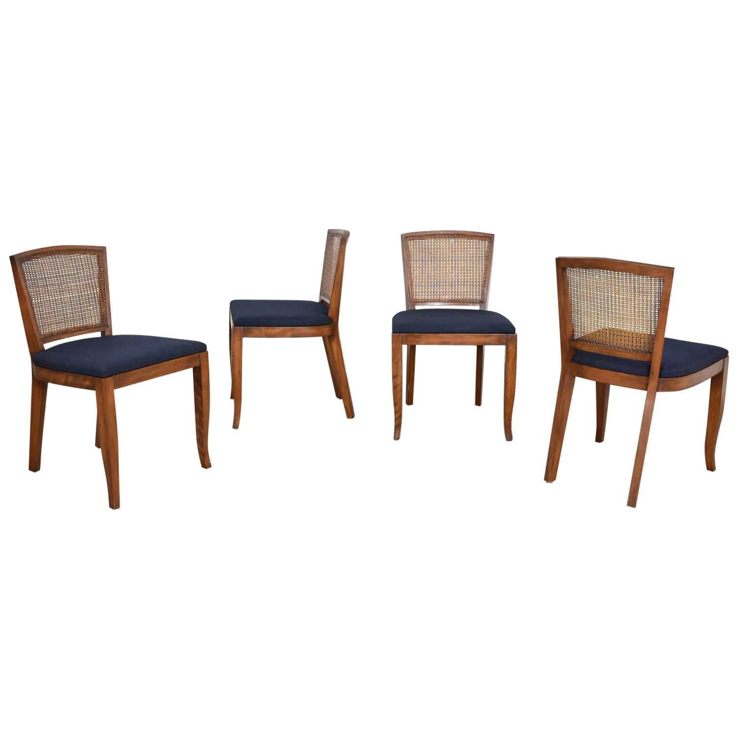 Vintage Mid Century Modern Set Of 4 Cane Back Dining Chairs Newly Upholstered At 1stdibs