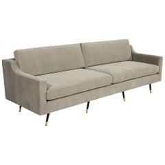 Vintage Mid-Century Modern Sofa in Designer Velvet